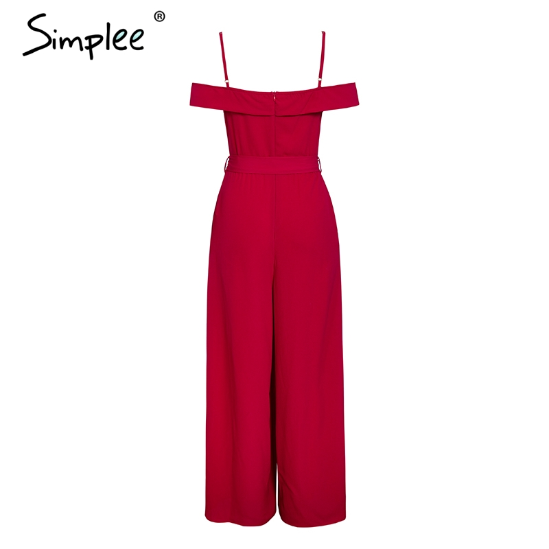 HTB1EWL9ajDuK1Rjy1zjq6zraFXaN - Simplee Sexy off shoulder women jumpsuit romper Elegant high waist red jumpsuit long Summer wide leg lady playsuit overalls
