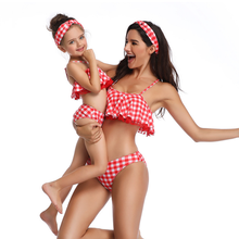 Family Matching Swimsuit Mother and Daughter Red Plaid Mommy And Swimwear Ruffle Solid High Cut Girl