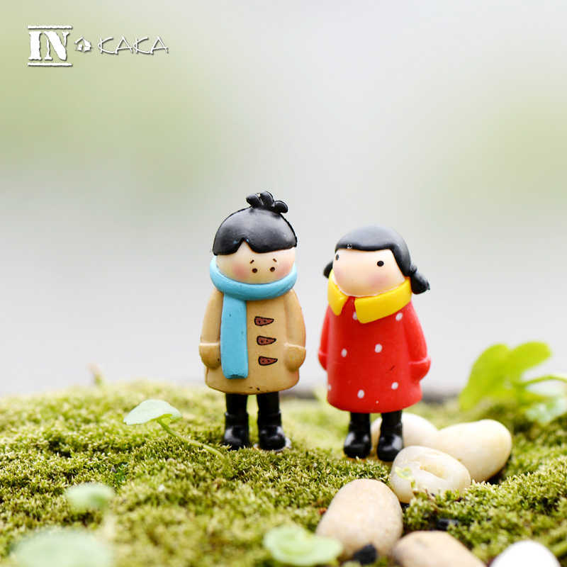 2pcs mini boy girl dolls micro landscape garden miniatures/terrarium/succulent decor figurines action Figure Toys DIY material