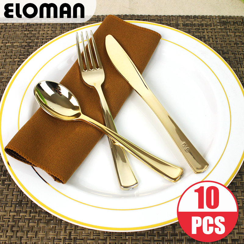 ELOMAN Heavy Duty Disposable Plastic tableware Gold ,For Ceremonies Wedding Receptions Baby Showers Gatherings Birthdays <font><b>BBQs</b></font>