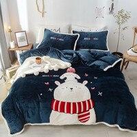 Синий розовый милый мультяшный медведь Олень зимний толстый детский фланелевый Комплект постельного белья флисовая ткань пододеяльник пр