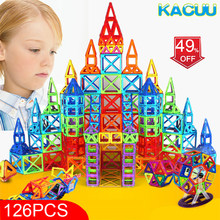New 126PCS Mini Magnetic Designer Construction Set Model & Building Toy Plastic Magnetic Blocks Educational Toys For Kids Gift(China)