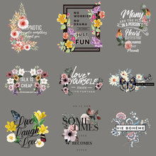 Colorful Flower Patches Iron On For Clothing DIY A-level Washable Beautiful letter Patch Sticker Clothes Decor