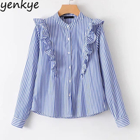 Spring 2018 Women Blue Striped Ruffle Blouse Stand Collar Long Sleeve Office Lady Shirts Blusas Tops