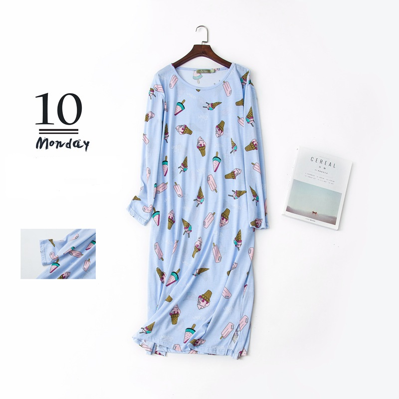 US $14.95 50% OFF|Women Cartoon Sleep Dress Cotton Nightgowns Long Sleeve  Plus Size Lounge Wear Cute Animal Printed Round Neck Sleepwear-in  Nightgowns ...