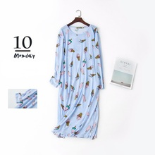 Women Cartoon Sleep Dress Cotton Nightgowns Long Sleeve Plus Size Lounge Wear Cute Animal Printed  Round Neck Sleepwear