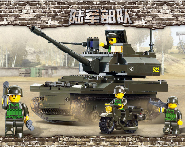 258pcs SLuban M38 B9800 Army Troops K 9 Tank Howitzer Building Blocks with Minifigures Soldier Toys