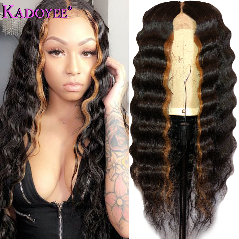 New Brazilian Deep Wave Lace Front Wig With Pre Plucked Hairline Ombre 1B 30 Color 13