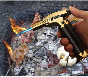 Image 2 - Outdoor BBQ Lighter Cigar Torch Turbo Lighter Jet Butane Gas 1300 C Spray Gun Windproof Metal Pipe Lighter Kitchen No Gas