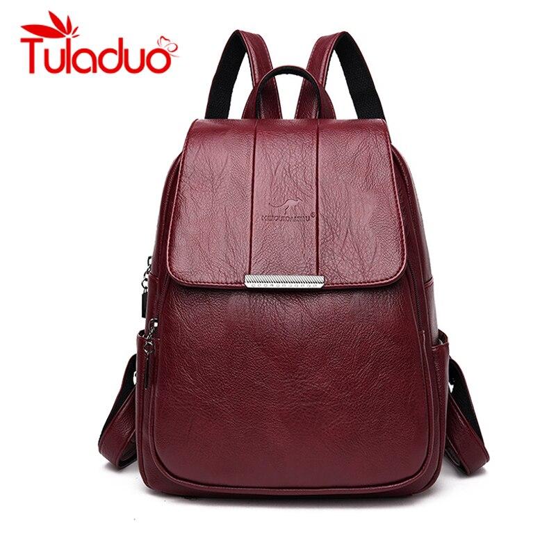 Women Leather Backpacks High Quality Vintage Female Shoulder Bag Sac A Dos Travel Ladies Bagpack Mochilas School Bags for Girls