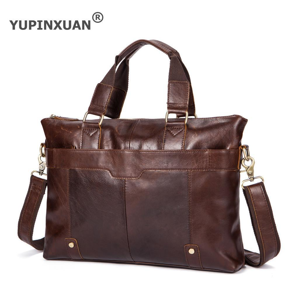 YUPINXUAN First Layer Cow Leather Shoulder Bags for Men 15 Laptop Handbags Vintage Cowhide Messenger Bag Luxury Male Briefcase 2017 new female genuine leather handbags first layer of cowhide fashion simple women shoulder messenger bags bucket bags