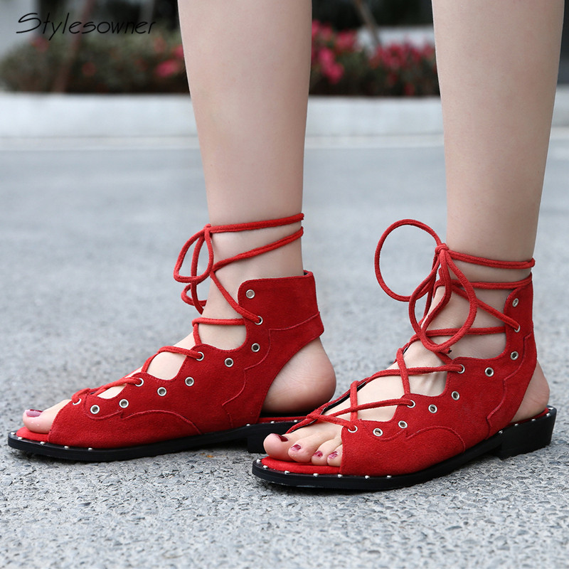 Stylesowner Classic Hot Fashion Cross Tied Laces Women Sandals Peep Toe Rivets Summer Sandals Hollow Out Sexy Casual Women ShoesStylesowner Classic Hot Fashion Cross Tied Laces Women Sandals Peep Toe Rivets Summer Sandals Hollow Out Sexy Casual Women Shoes