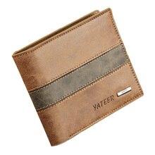 Мужской кожаный короткий кошелек из искусственной кожи тонкие Зажимы для денег Современные стильные кошельки практичный с несколькими слотами для карт памяти карман WB72