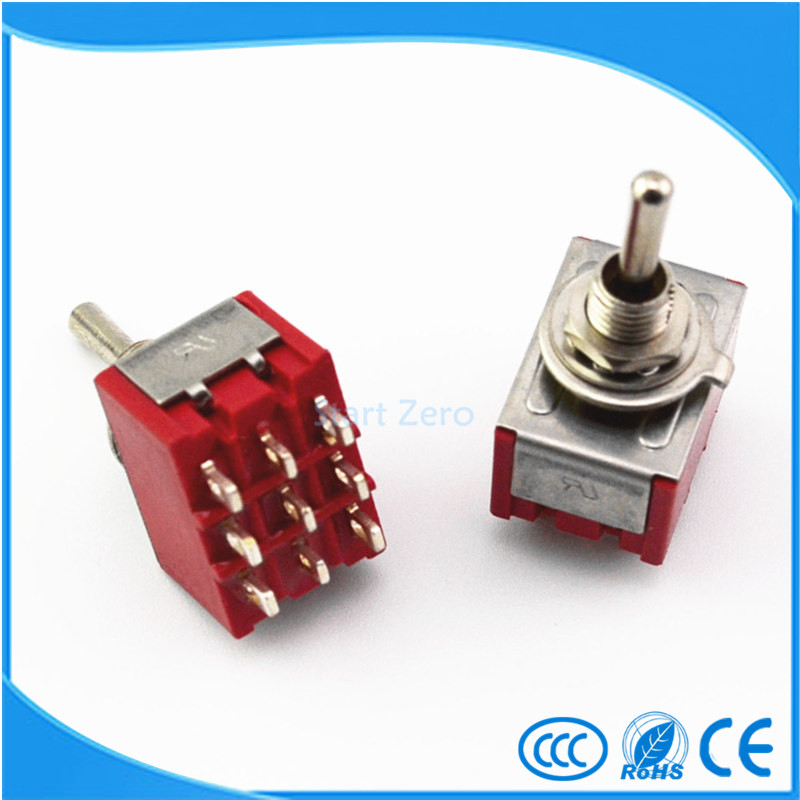 10Pcs 9-Pin Mini Toggle Switch 3PDT ON-ON/ON-OFF-ON  2A250V/5A125VAC MTS-302 MTS-303