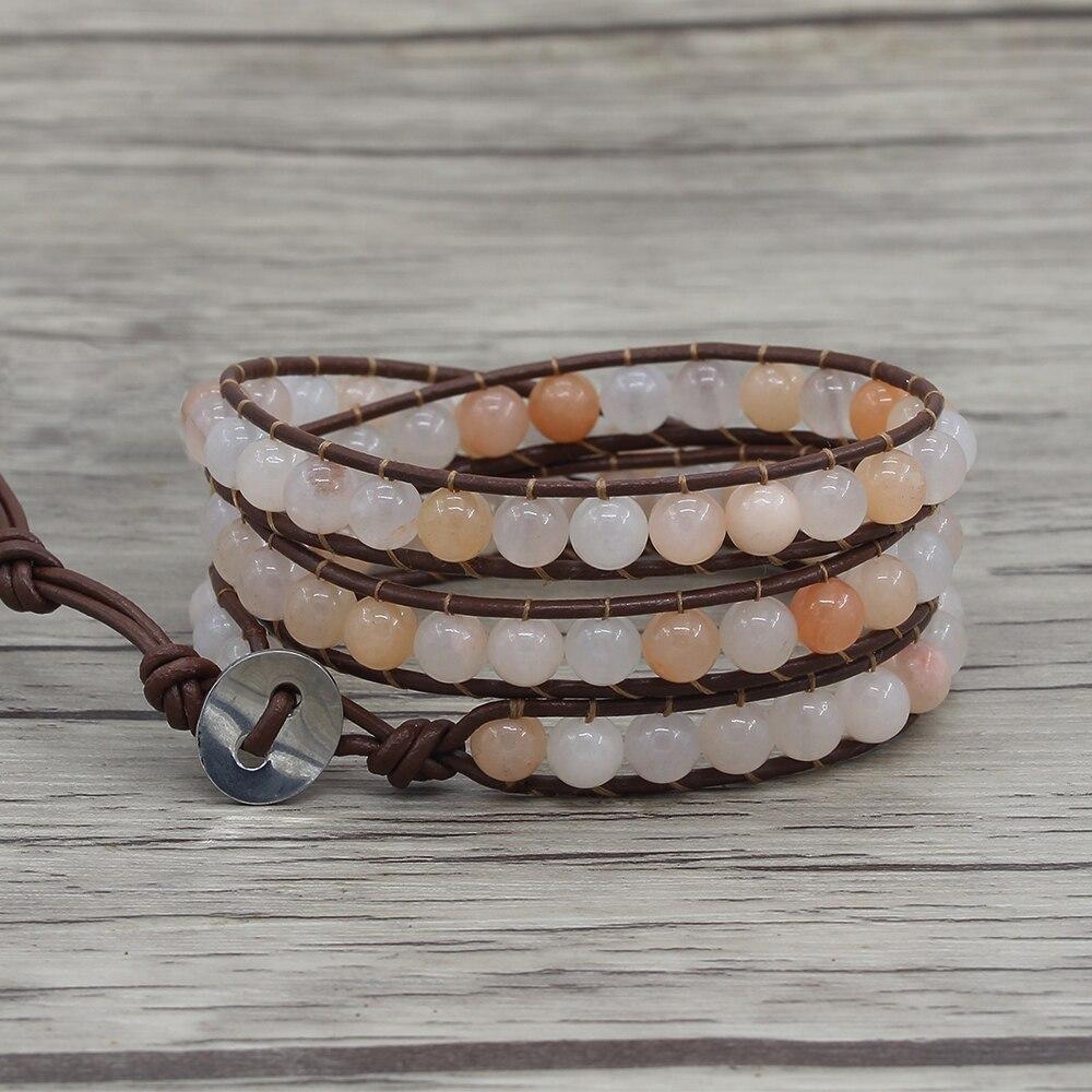 Leather wraps beaded braceley boho wrap yoga jewelry pink naturalstone beads bracelet dropshipping bohemian 3 wraps beads yoga