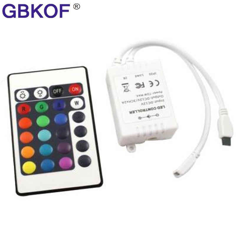 DC12V 24 Keys IR Remote RGB Controller For SMD2835/3528/5050/5730/5630/3014 RGB LED Strip Lights Mini Controller