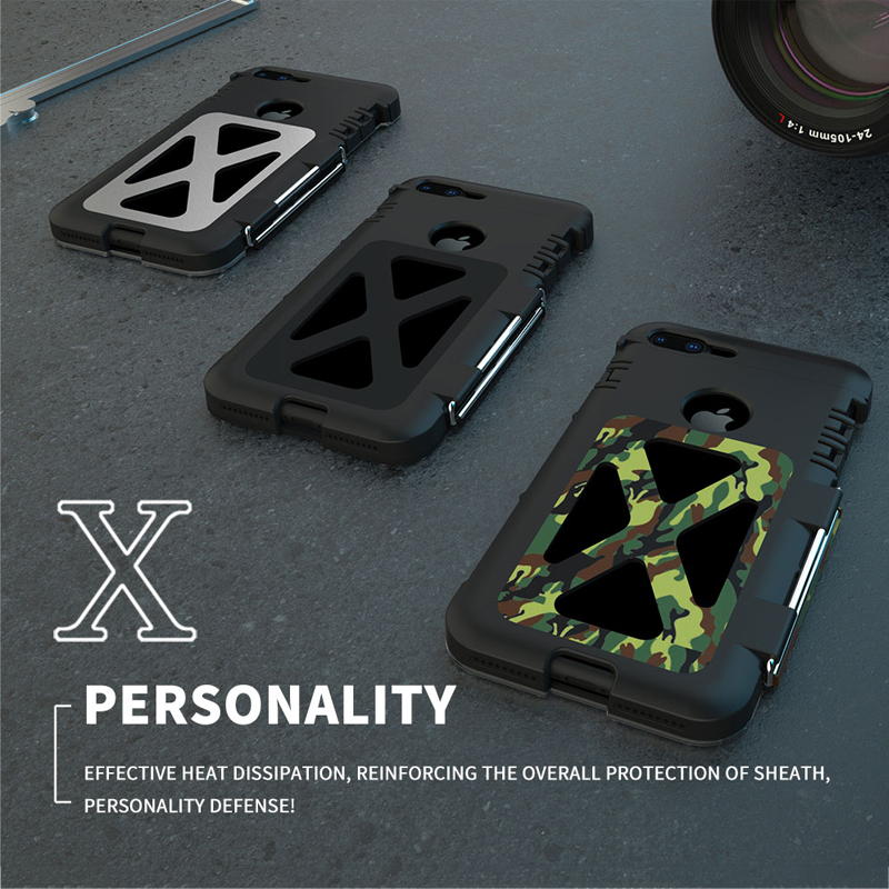 Pour iPhone 8 7 6 6 S Plus étui de luxe 3D paillettes en aluminium dur métal + Silicone souple armure Flip housse de téléphone arrière de protection