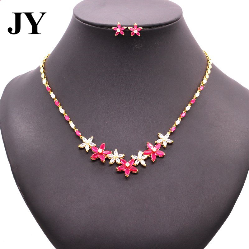 JY New Arrival Gold Color Silver Color Luxury Charm Jewelry Sets For Women Party Earring Elegant Necklace Woman Best Love Gift