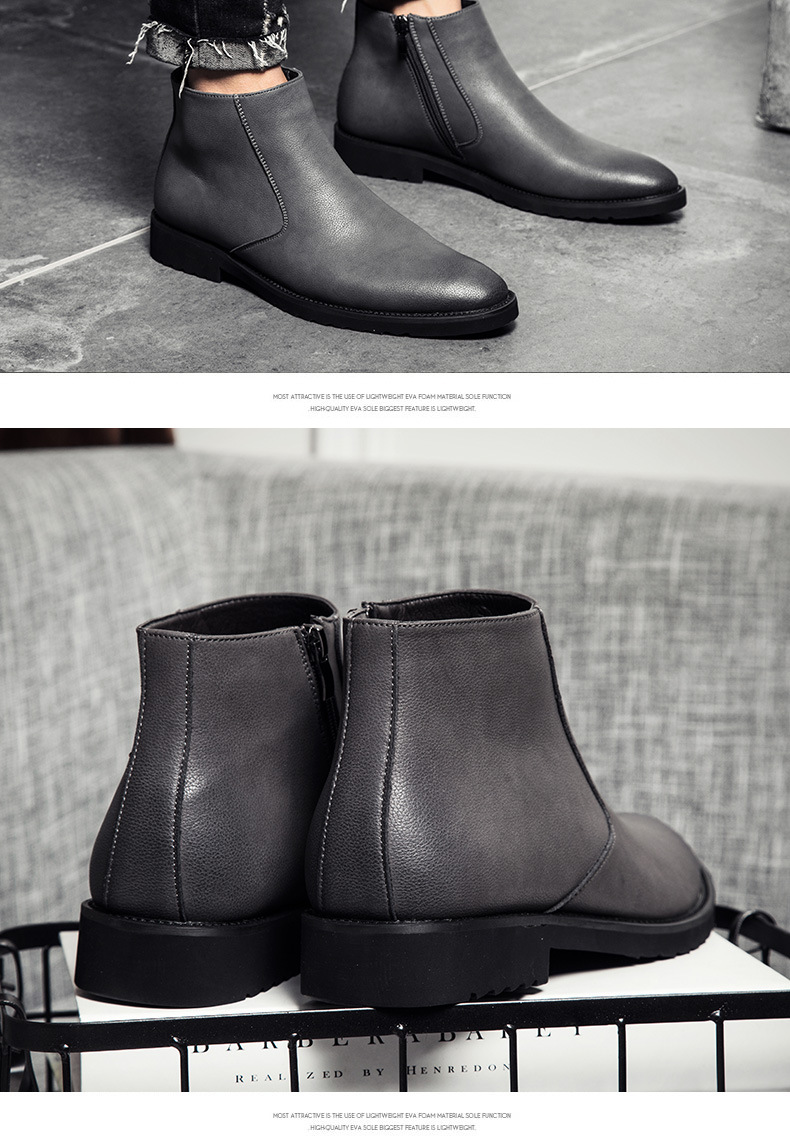 Classic Chelsea Boots Men 2018 Winter Fashion All Black Casual Shoes for Male Vintage Style Ankle Boots Bota Masculina 38 45