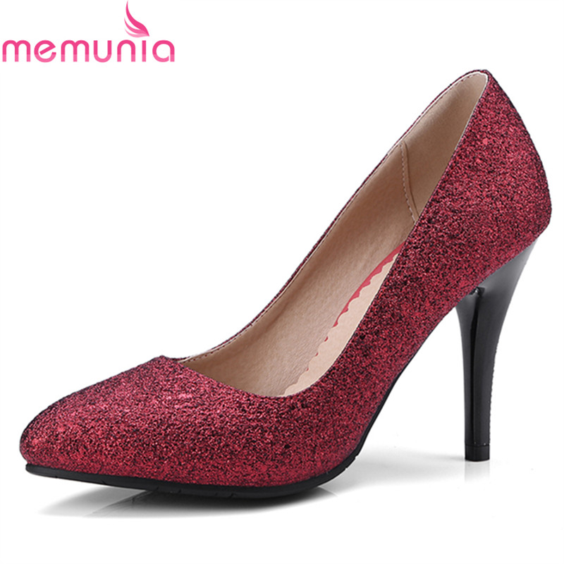 MEMUNIA spring autumn sexy pointed toe women pumps stiletto high heels high quality shallow wedding shoes bride big size siketu 2017 free shipping spring and autumn women shoes high heels shoes wedding shoes nightclub sex rhinestones pumps g148