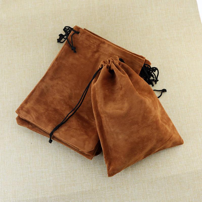 high quality 15x20cm drawstring coffee brown velvet bags