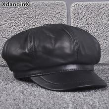 XdanqinX Autumn Winter Womens Hat Genuine Leather Newsboy Caps Elegant Sheepskin Tongue Cap For Women Cuero Genuino Sombrero