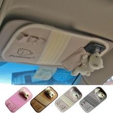 Best-selling bear doll styling car sunvisor CD Storage Car Accessory sun visor interiors decoration holder bag,Free shipping