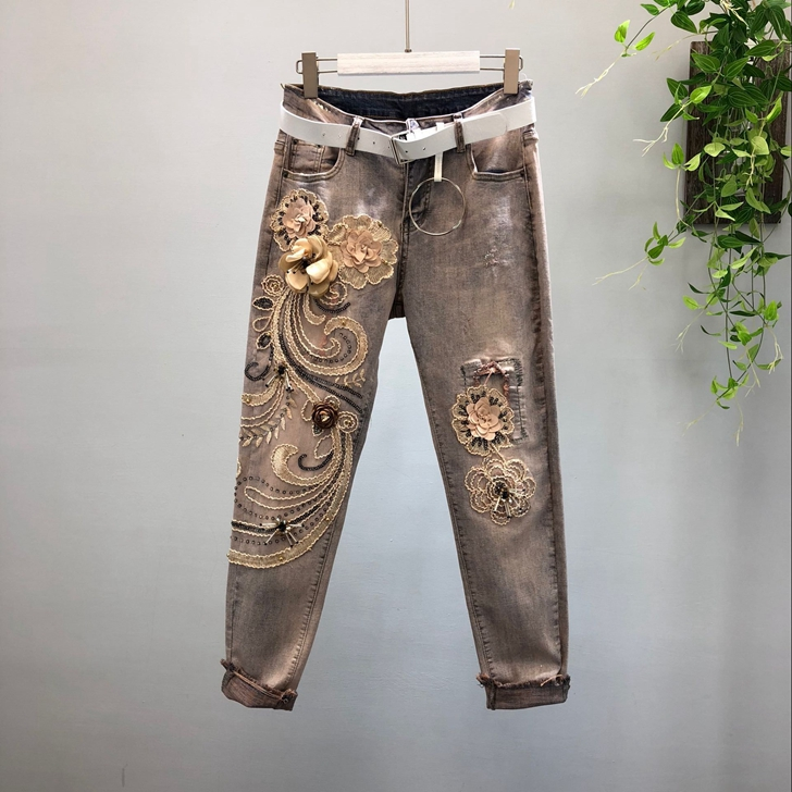 Vintage   Jeans   for Woman 2018 Autumn Winter Heavy Stereo Flower Floral Stickers Elastic Denim Pants Girl Lady Casual Trousers
