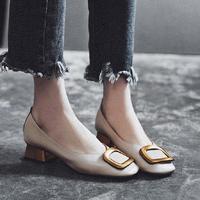 MYCORON/2018 г. Осенняя обувь, женская обувь из натуральной кожи, модные Лоферы без шнуровки с квадратным носком, однотонная женская обувь Buty Damskie