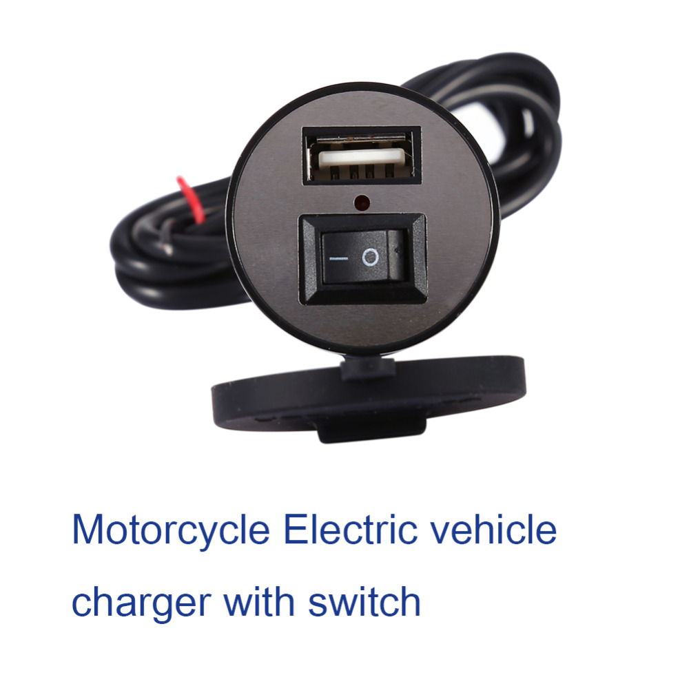 12V Motorcycle USB Charger Motorcycle Bike USB Mobile Phone Power Charger Adapter Switch Waterproof AP Black Auto Accessories