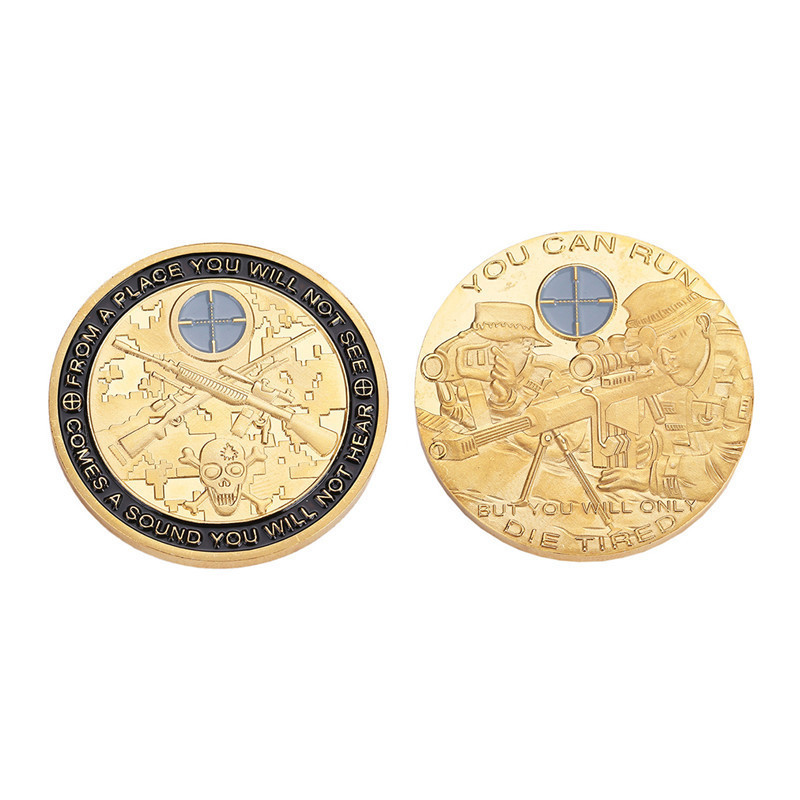 1pcs Gold Embossed Sniper Aiming Commemorative Challenge Coin You Can Run But You Will Only Die Tired Coin Dia 40mm
