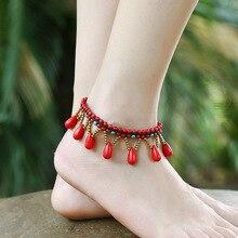 Bohemia Ankle Bracelet Ethnic Drop Cheville Beaded Bell Boho Beach Foot Jewelry Bracelets Leg Anklet Chaine Sieraden Enkelbandje