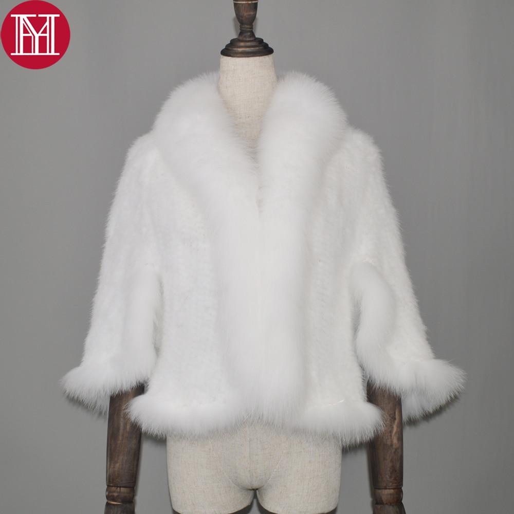 2018 Real Mink Fur Poncho Knitted 100 Natural Real Mink Fur Shawl Natural Fox Fur Collar