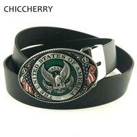 Casual Male PU Leather Belts Buckle USA Flag Eagle American Metal Fivela Cowboy Cintos Masculinos Ceinture