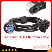 Alta qualidade sd conectar compact4 obd2 16pin cabo para mb estrela sd c4 obd ii 16 pinos cabo de teste principal carro ferramentas de diagnóstico adapte