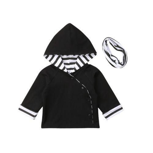 2018 Multitrust Marke Neugeborenen Baby Kinder Mädchen Infant Kleidung Mit Kapuze Tops Mantel Mit Kapuze Sweatshirt Schwarz Herbst Winter Outfit