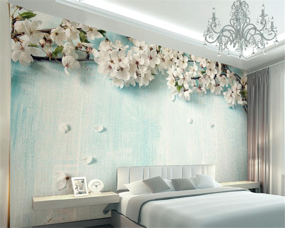 Beibehang 3d Wallpaper Living Room Bedroom Mural Fresh Blue Mosaic Sakura TV Background Wall Mural wallpaper 3d  papel de parede beibehang golden fountain fair 3d photo wallpaper mural living room bedroom corridor tv background wallpaper for walls 3 d