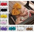 Barato menina arco Headwrap de Fashon grande Headband do laço de cabelo elástico recém-nascido Headwear10pcs / lot