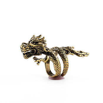 Fashion Gold Men Ring  Exaggerated Spirit Dragon Ring Personality Adjustable Split Ring Punk Hip Hop Male Female Jewelry Gift 5