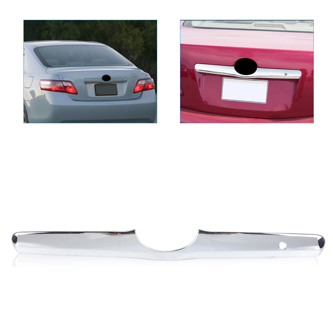 beler ABS Triple Chrome Tailgate Trunk Hatch Trim Bezel Cover for Toyota Camry 2006 2007 2008 2009 2010 2011