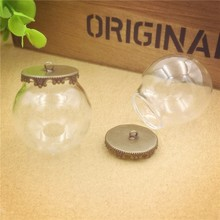 NEW 10sets/lot 30mmdia. 20mm opening clear glass globe  crown base 8mm cap set (no filler) pendant Jewelry accessory