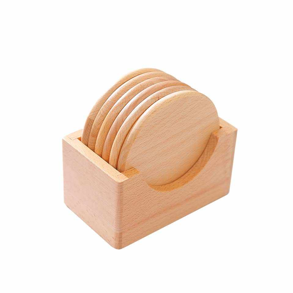 Wooden Coaster Holder New Arrival 6 Pcs Lot Solid Wood Coaster F001090 Beech Wood Placemats Natural Style No Paint Boutique 9 8 Cm 3 54 31 Inch