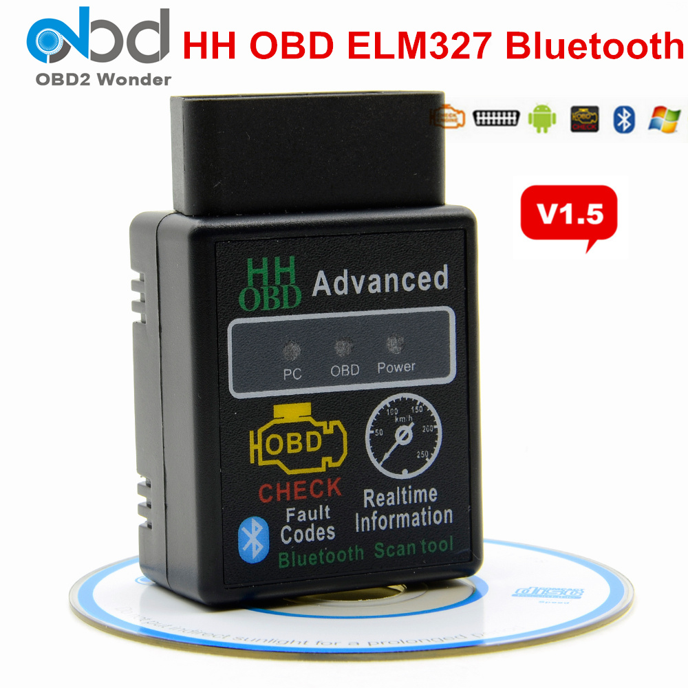 2019 OBD2 ELM327 1.5 HH OBD Diagnostic Scanner ELM <font><b>327</b></font> V1.5 Bluetooth OBDII Auto Code Reader Support All OBD2 OBD <font><b>2</b></font> Protocols image