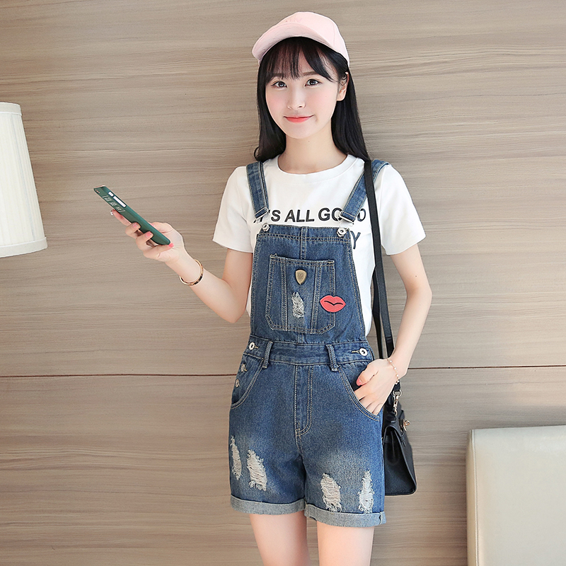 BARGAIN HUNTERS Store Embroidery Casual Women Jean Overalls New 2017 Denim Playsuit Womens Female Rompers Hole Ripped Hot Pocket Korean Slim Playsuits