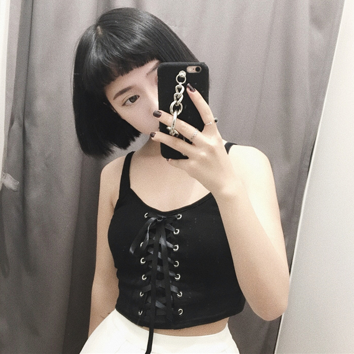 Harajuku Tops Women Tanks Short Crop Top Ribbon Straps Casual Female Fashion Cute Tops Tee