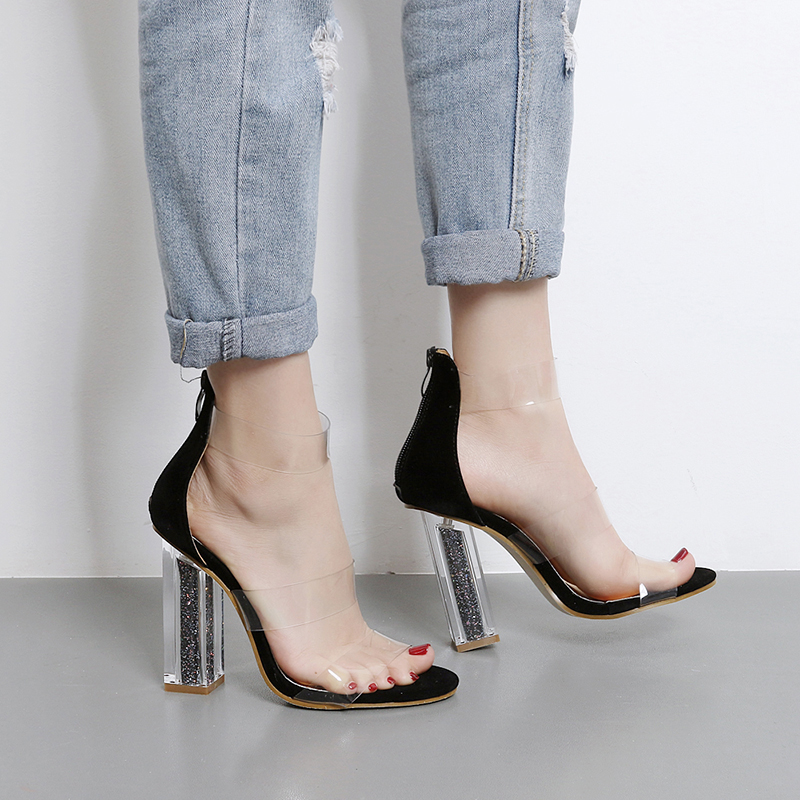 Summer Sandals Transparent Fashion Shoes 2018 Ankle Strap -7646