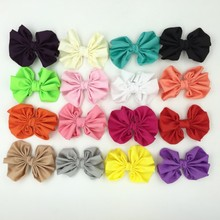 15pcslot 4 Chiffon Hair Bows DIY Handmade Supplies Accessories Solid Bow Without Hair Clips Flat Back For Kids Hair Bands