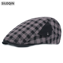 SILOQIN Retro Plaid Cotton Cloth Berets For Men And Women Adjustable Head Size Vintage Fashion Couple Hats Personality Brand Cap