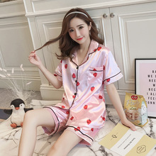 Pajamas Woman Silk Pajama Set Short Sleeve SatinTwo Paper Suit Lovely Strawberry Summer Sleepwear Homewear