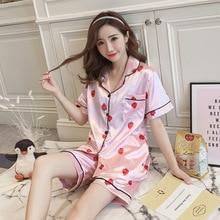 Pajamas Woman Silk Pajama Set Short Sleeve SatinTwo Paper Suit Lovely Strawberry Summer Sleepwear Homewear Pajamas недорого
